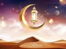 Eid Mubarak Calligraphy with Lantern vector