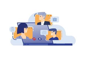 group of people meeting with video conference, vector illustration