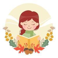 Reading Book in Autumn vector
