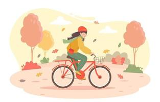 Cycling in Autumn vector