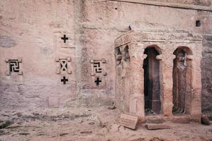 Famous ancient Ethiopian orthodox Christian rock-hewn churches of Lalibela Ethiopia photo