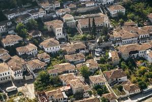 View of Berat Berati historic old town rooftops in Albania photo