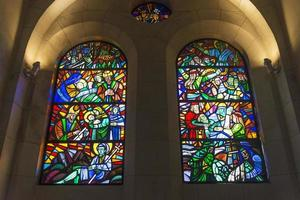 Manila cathedral interior Christian stained glass windows detail in Philippines photo