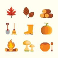 Set of Fall Element Icon vector