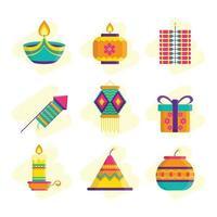 Set of Diwali Festival Icons vector