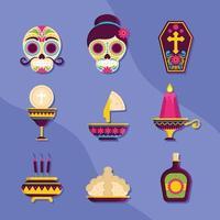 Set Of Dia De Los Muertos Element Icons vector