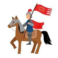 el caballero se sienta sobre un caballo con casco y armadura. vector