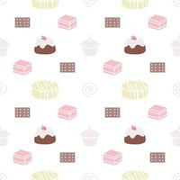 sweet desserts pattern transparent on a white background vector