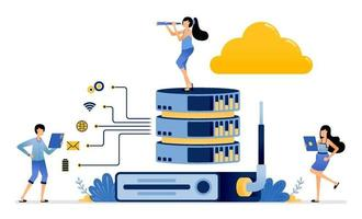 router helps stabilize network for sharing on cloud databases services vector