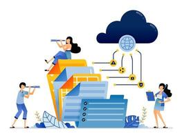 acceso de almacenamiento de informes de documentos corporativos al servicio de Internet en la nube vector