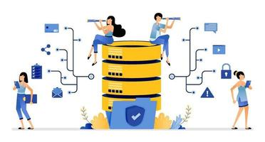secure database network communicate and share data stored in folders vector