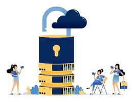 full service protection of access on cloud database providers networks vector