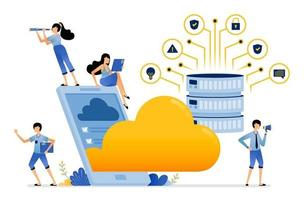 apps for mobile storage services by uploading data to database server vector