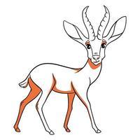 Gacela divertida de carácter animal en estilo de línea. ilustración infantil. vector