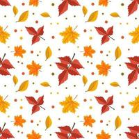 Autumn pattern with orange maple and rowan leaves. Bright fall print vector