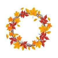 Round frame with orange and yellow maple leaves vector