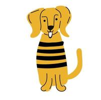 Yellow coloured dog isolated on white background vector