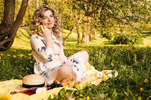 Beautiful woman, weekend out for a walk in a picnic photo