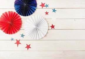 Decorations for 4th July, Independence Day USA. Paper fans and stars photo