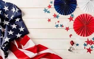 Decorations for 4th July, Independence Day USA. Paper fans, national photo