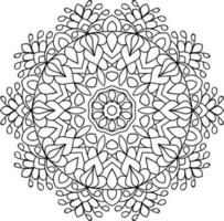 Simple Doodle rounded mandala design colouring book pages for adults vector