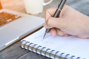 notas de escritura a mano foto
