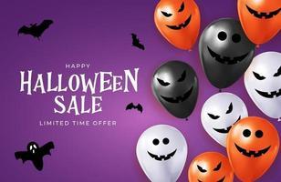Feliz tarjeta de vacaciones de venta de halloween con globos divertidos. vector