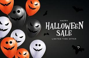 Happy Halloween sale holiday card with funny balloons. vector