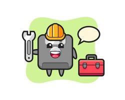 Mascot cartoon of floppy disk as a mechanic vector