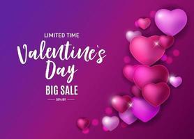 Diseño de fondo de venta de amor y sentimientos de San Valentín. vector