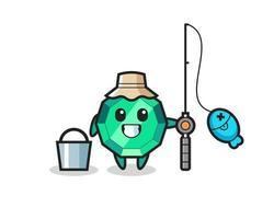 personaje mascota de la piedra preciosa esmeralda como pescador vector