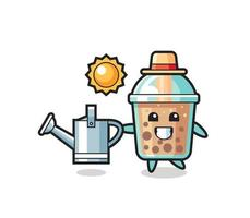 personaje de dibujos animados de té de burbujas con regadera vector