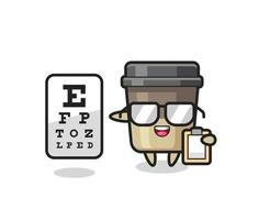 Illustration of coffee cup mascot as an ophthalmology vector