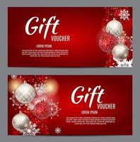 Christmas and New Year Gift Voucher, Discount Coupon Template vector