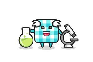 Mascot character of checkered tablecloth as a scientist vector