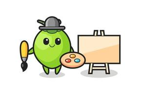 Illustration of coconut mascot as a painter vector