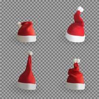 Set of Naturalistic 3D version of Santa Claus hat vector