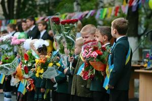Ukraine, Kiev 2008- Children begin to move to school after announcing the start of a new school year photo