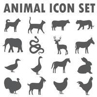 Animal icon collection black series vector