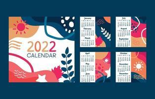 Abstract Flat Calendar 2022 vector