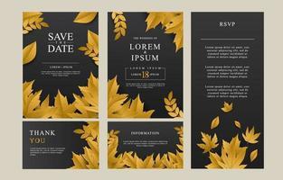 Wedding Invitation Template Set vector