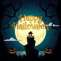 luna sonriente en halloween vector