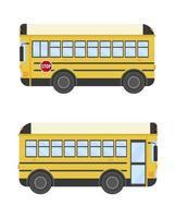 ilustración vectorial de una vista lateral del autobús escolar. vector