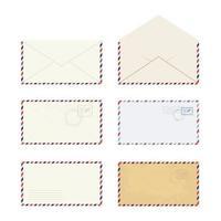 colección de diferentes sobres planos para diseño web. vector