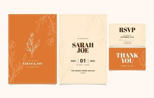Floral Wedding Invitation Template vector