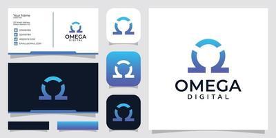 simple omega digital vector. inspiration business card, icon app vector