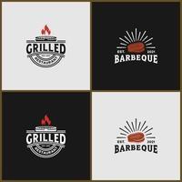 set bundle vintage grilled, rustic, barbecue logo vector