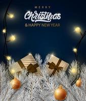 Merry Christmas banner with lettering text vector