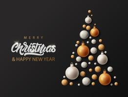 Merry Christmas tree with lettering vector