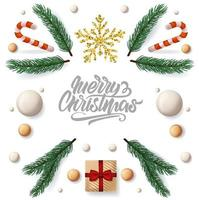 Christmas banner with lettering and new year objects vector